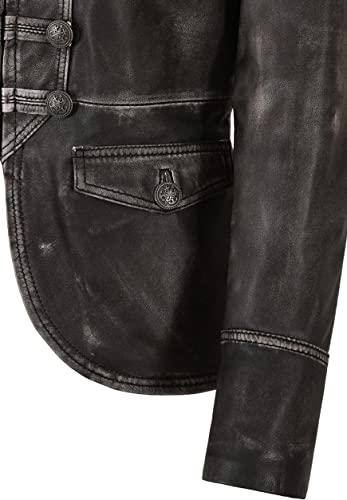 Femmes Véritable Veste en Cuir Noir Vintage Napa VICTOIRE Défilé Militaire Style 8976