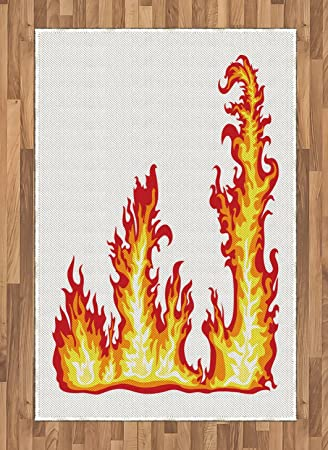 Amazon Com Lunarable Yellow And Red Area Rug Flame Burning Fury