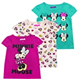Disney Girls 3-Pack T-Shirts: Wide Variety Includes Minnie, Frozen, Princess, Moana - Green - 3T