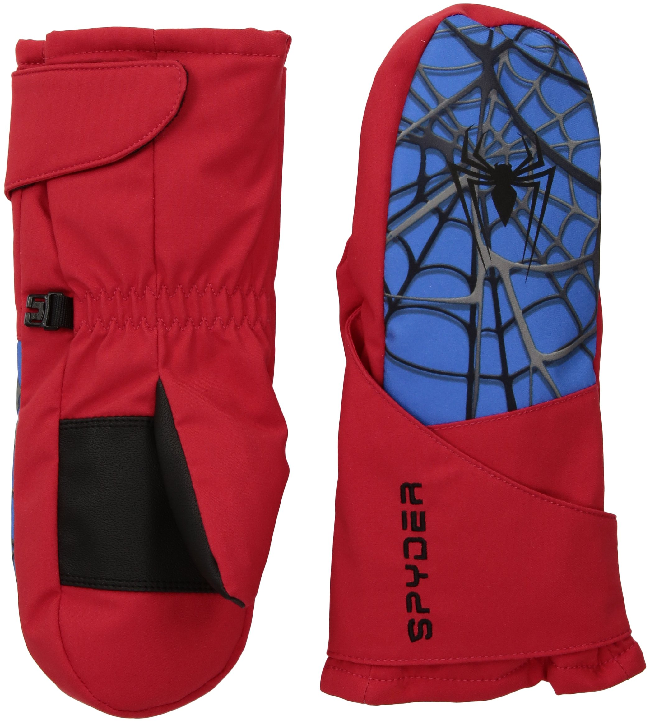 Spyder Boy's Mini Marvel Overweb Ski Mitten, Red/Spiderman, Large