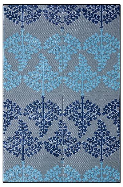 Sapana Mats Motif - Blue & Grey Plastic Floor Mat Chatai (4 X 6) Medium