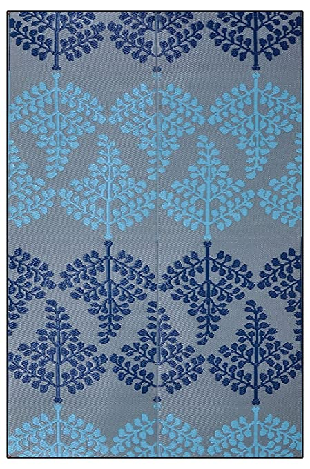 Sapana Mats Motif - Blue & Grey Plastic Floor Mat Chatai (6' X 9') Carpets at amazon