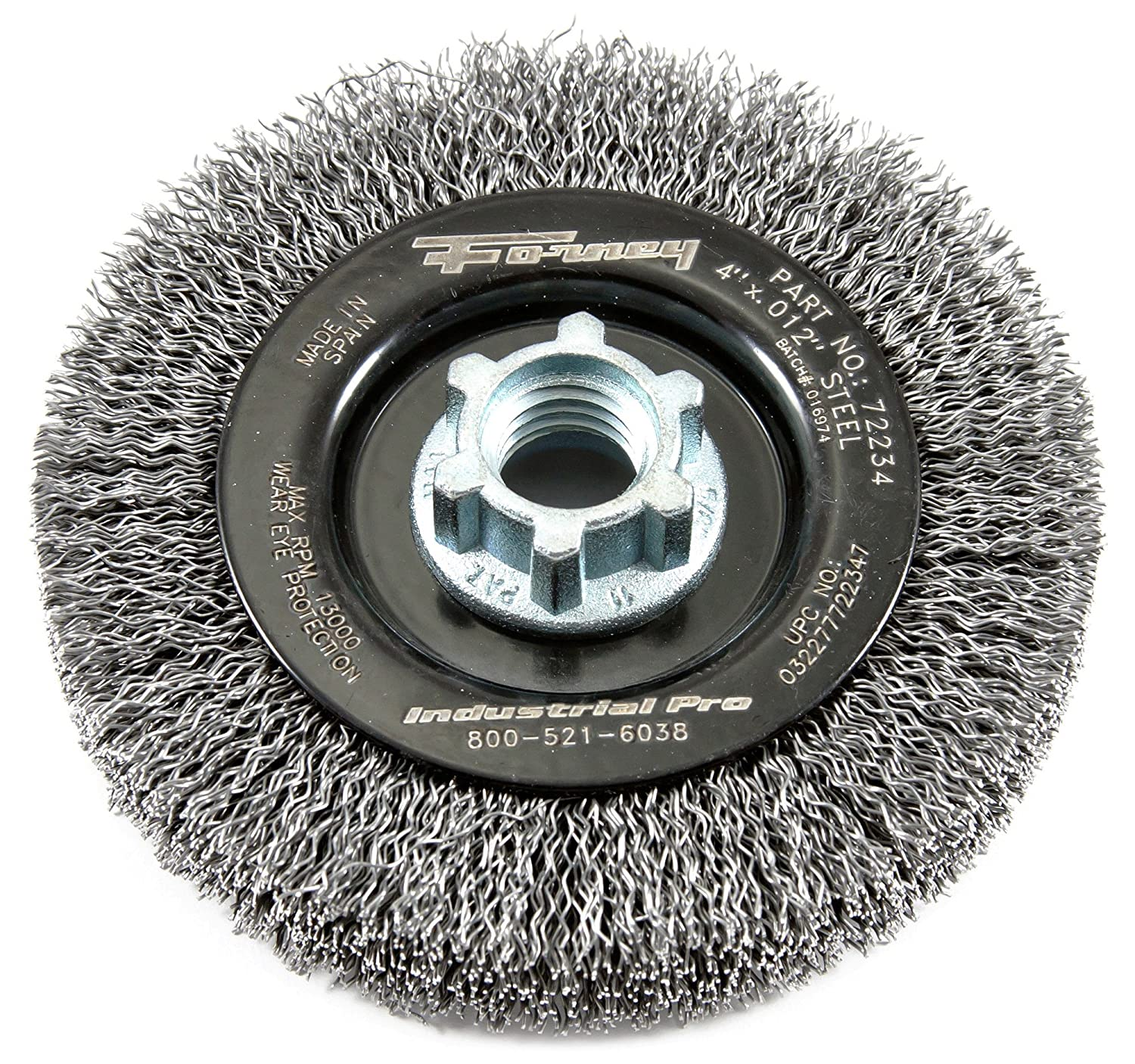 4-Inch-by-2.0-Inch Forney 72234 Wire Wheel Brush Industrial Pro Crimped with Dual Arbor 5//8-Inch-11 and M14
