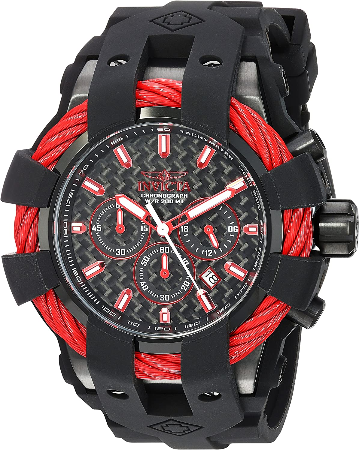Invicta Men s Bolt Stainless Steel Quartz Watch with Silicone Strap, Black, 32 Model 23869