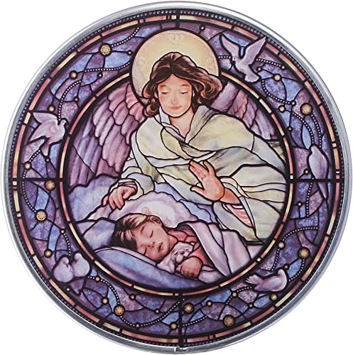 Stained Glass Panel – Little Girl Guardian Angel Stained Glass Window Hangings – Art Glass Window Treatments
