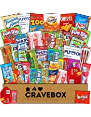 CraveBox - Care Package (40 Count) Snack Box - Variety Assortment Bundle of Snacks, Candy, Chips, Chocolate, Cookies, Granola Bars, for Students, Office, Midterms, Easter Basket Fillers Stuffers Kids