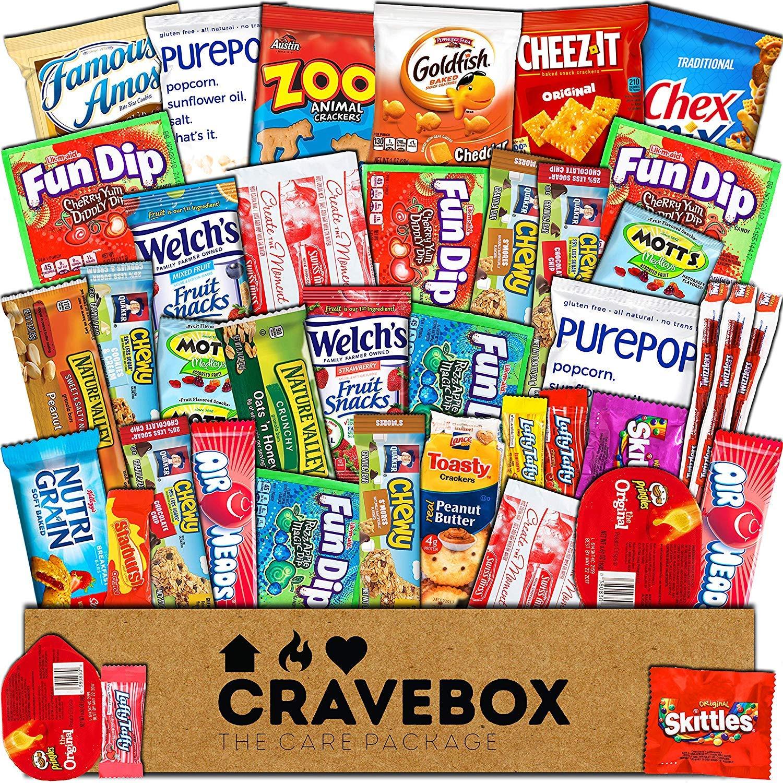 CraveBox Paquete de tentempiés de gran variedad de frituras y barras de granola y palomitas para el colegio (Pack de 30): Amazon.es: Alimentación y bebidas