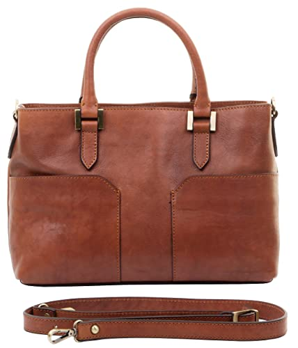 6b309f0659 Primo Sacchi Ladies Luxury Italian Leather Brown Double Handle Grab Shoulder  Crossbody Bag Handbag. Includes
