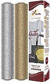 萤火虫工艺闪耀热转印乙烯基剪影和板丘,30.48 厘米 x 50.8 厘米 Glitter Silver, Glitter Gold 2 sheets 43219-95827