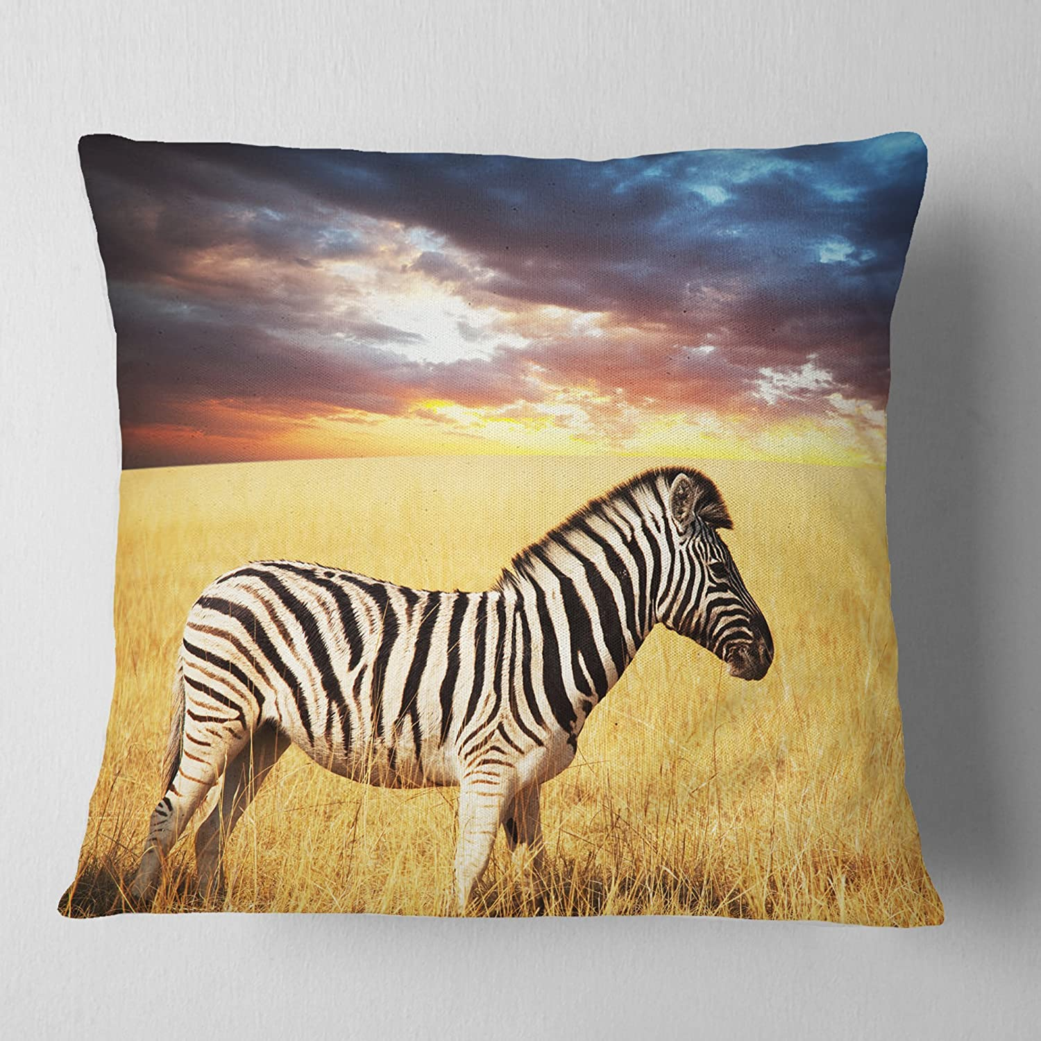 Designart Cu12583 18 18 Solitary Zebra Grassland African Cushion Cover For Living Room Sofa Throw Pillow 18 In X 18 In In
