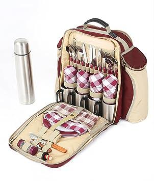 Greenfield Collection The BPS4RDH - Sac à dos de pique-nique Super Deluxe pour 4 personnes en Rouge Mûr 35TF6KAIn