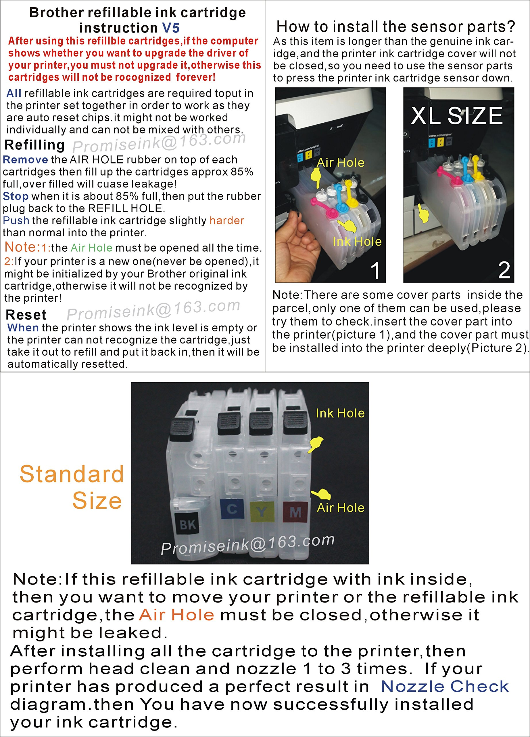 CEYE for Brother MFC-J985DW J985DWXL J5920DW Refillable Ink Cartridge LC20E Empty by CEYE (Image #3)
