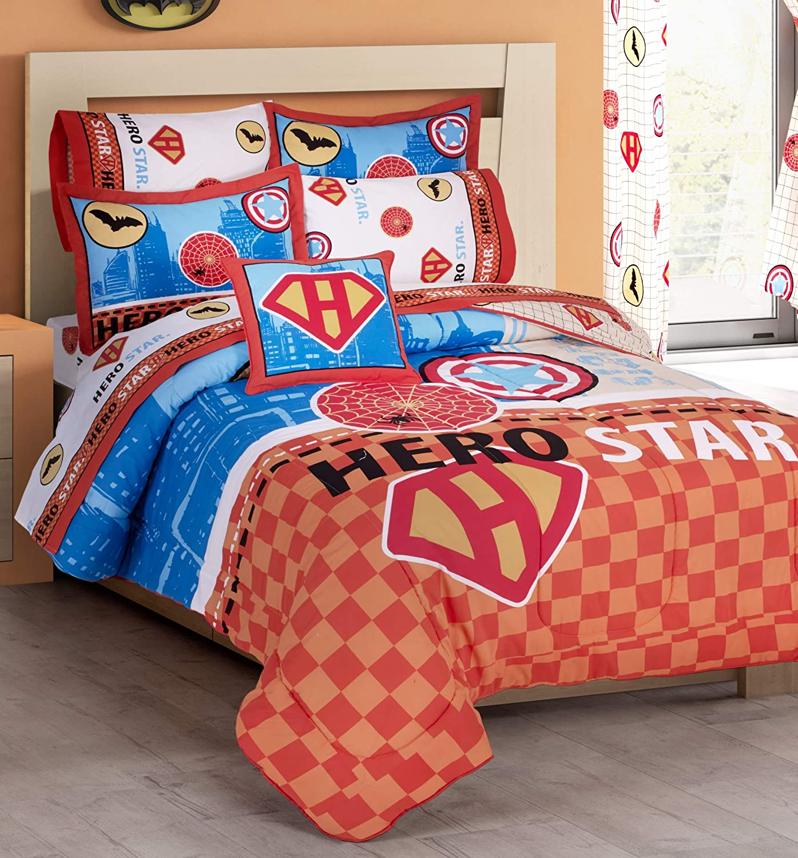 Primor Casa Super Heroes 3 Pieces Reversible Comforter Set for Boys Kids Teens - Orange Blue Cotton Rich Bedding Set (Twin Size)