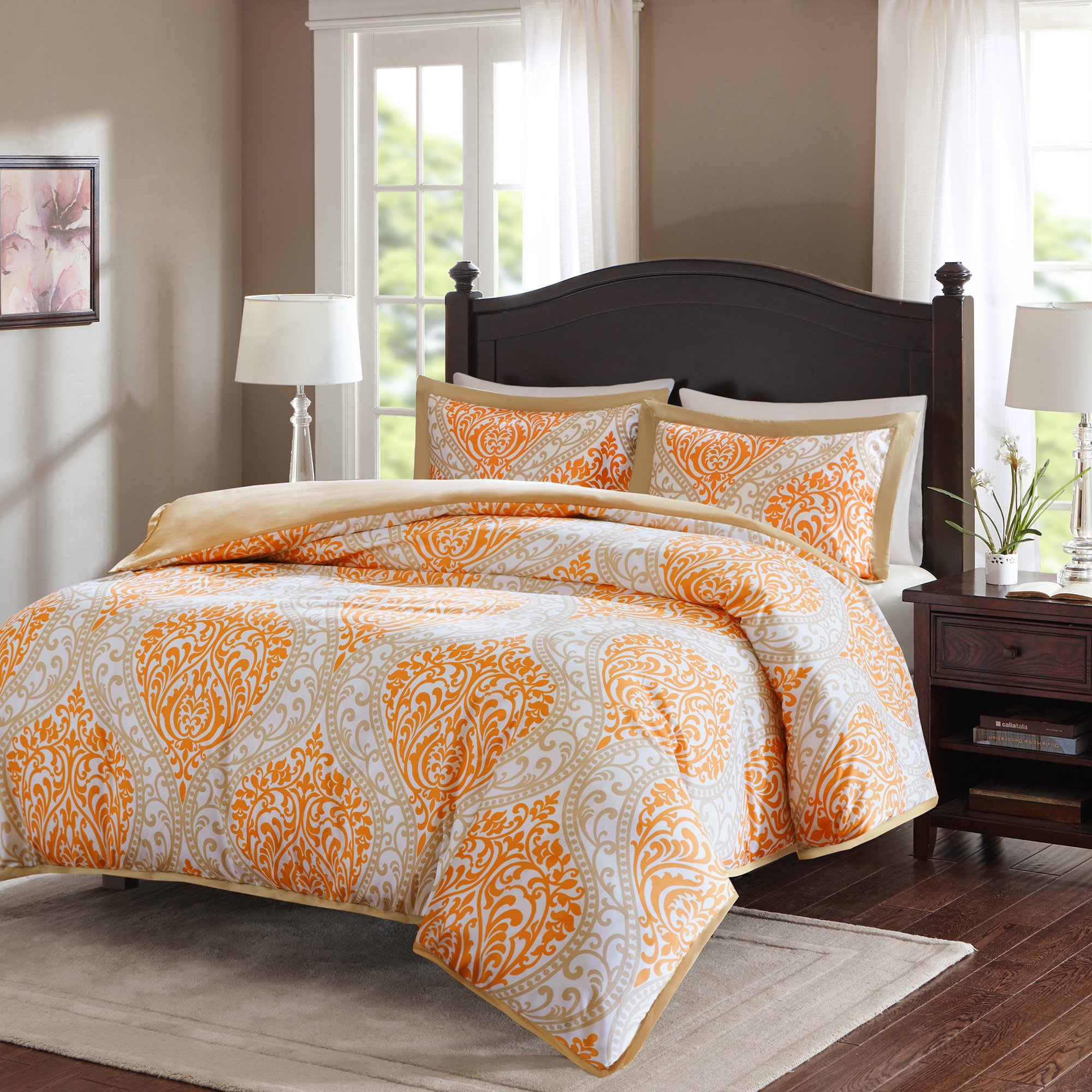 Duvet Cover Full/Queen Size - Coco Teen Girls Bedding Set With Corner Ties - 3 Pieces [ 1 Duvet Cover, 2 Shams ] Orange and Taupe Duvet Bed Sets With Damask Pattern