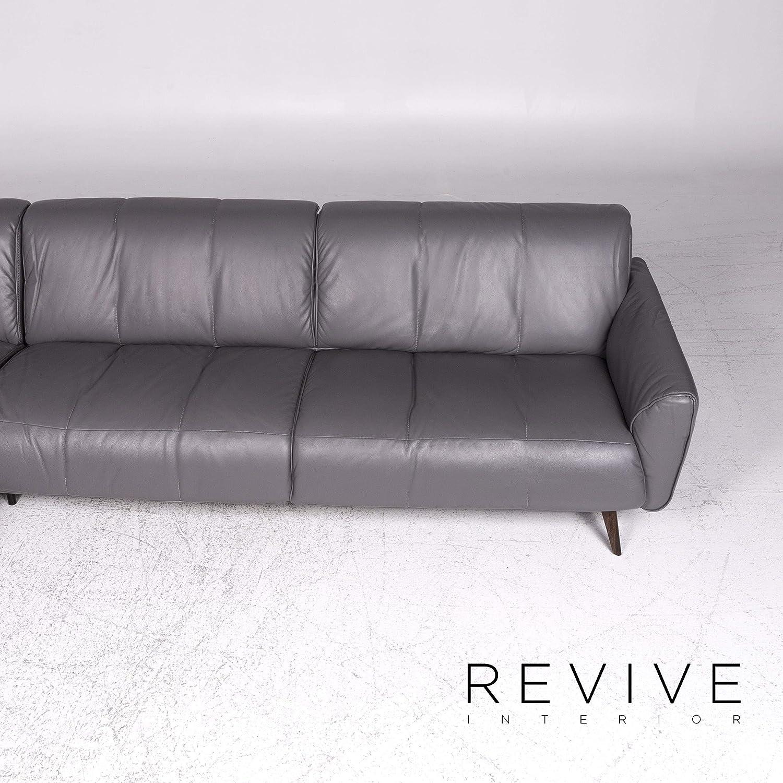 Natuzzi Editions Talento Designer Leather Corner Sofa Gray Sofa ...