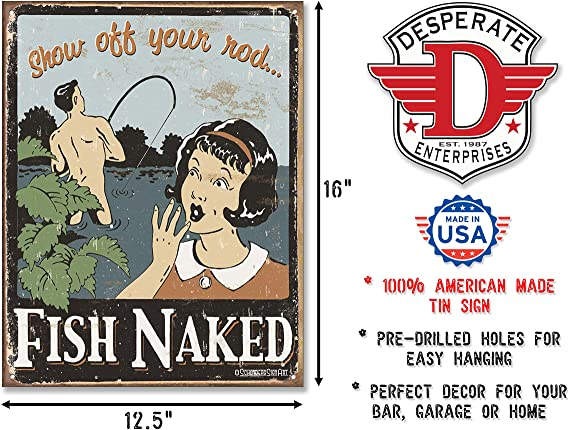 Man Cave Sign Lake house decor Fish Naked Show Off Your Rod Cabin