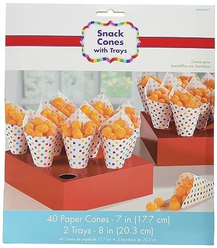 Amscan Rainbow Buffet Snack Cones (2 Trays, 40 Cones)
