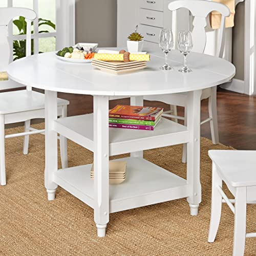 ModHaus Living Modern White 48 inch Round Cottage Country Dining Table