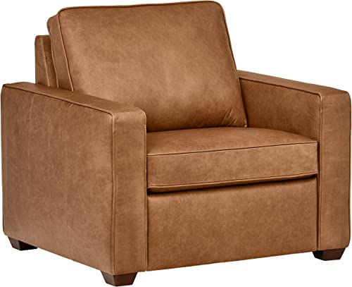 Amazon Brand Rivet Andrews Contemporary Top-Grain Leather Chair, 40 W, Cognac