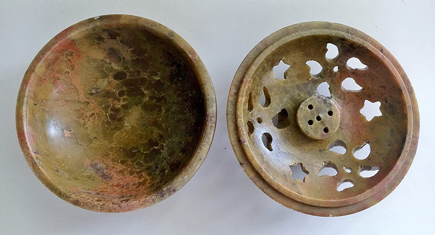 Soapstone Bowl Incense Holder Resin Charcoal Burner with White StonesSmall
