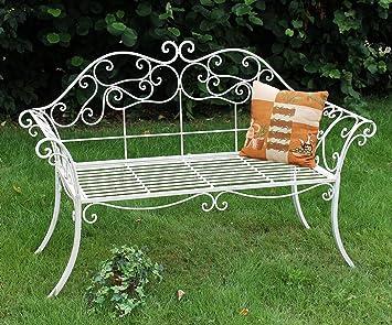 Dandibo Banc De Jardin Romance Blanc 111183 Banc 146cm En Fer Forgé