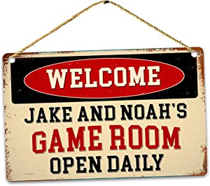 Welcome to Custom Name Game Room Open Daily - Durable Street Metal Sign Decor Personalized Outdoor Yard Garage Indicator Plaque Wall Printing Warning Display for Home Garden Lawn Alloy 12