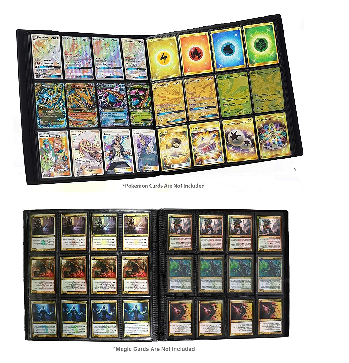 Premium Trading Binder for Standard MTG Pokemon Card Side Loading Perfect for Card Playset in Four X4 4 x 4 Quadrow
