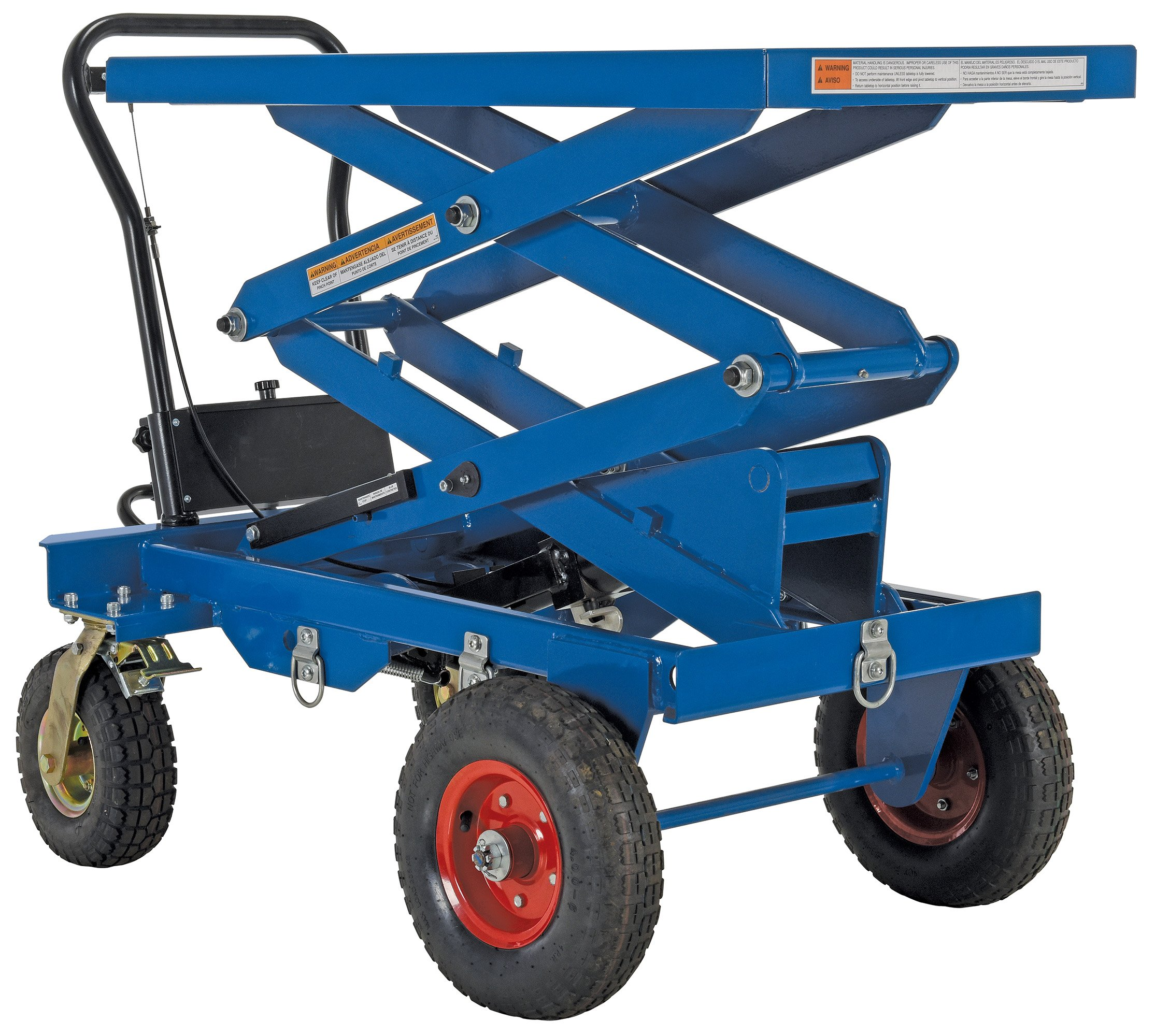 Vestil CART-PN-600-D Pneumatic Tire Cart, Double Scissor 600 lb. Capacity