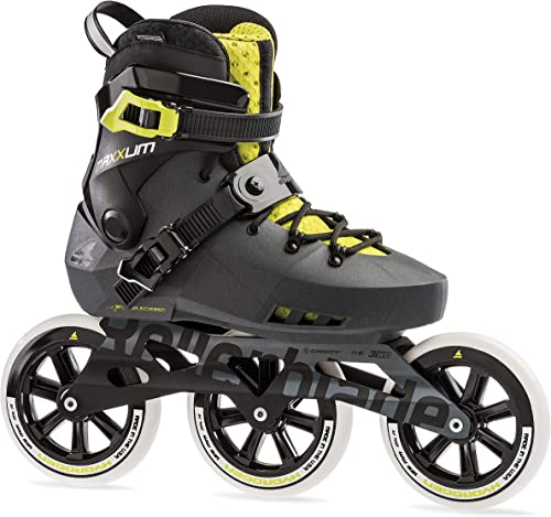Rollerblade Maxxum Edge 125 3WD Unisex Adult Fitness Inline Skate, Metallic Grey and Lime, Premium Inline Skates
