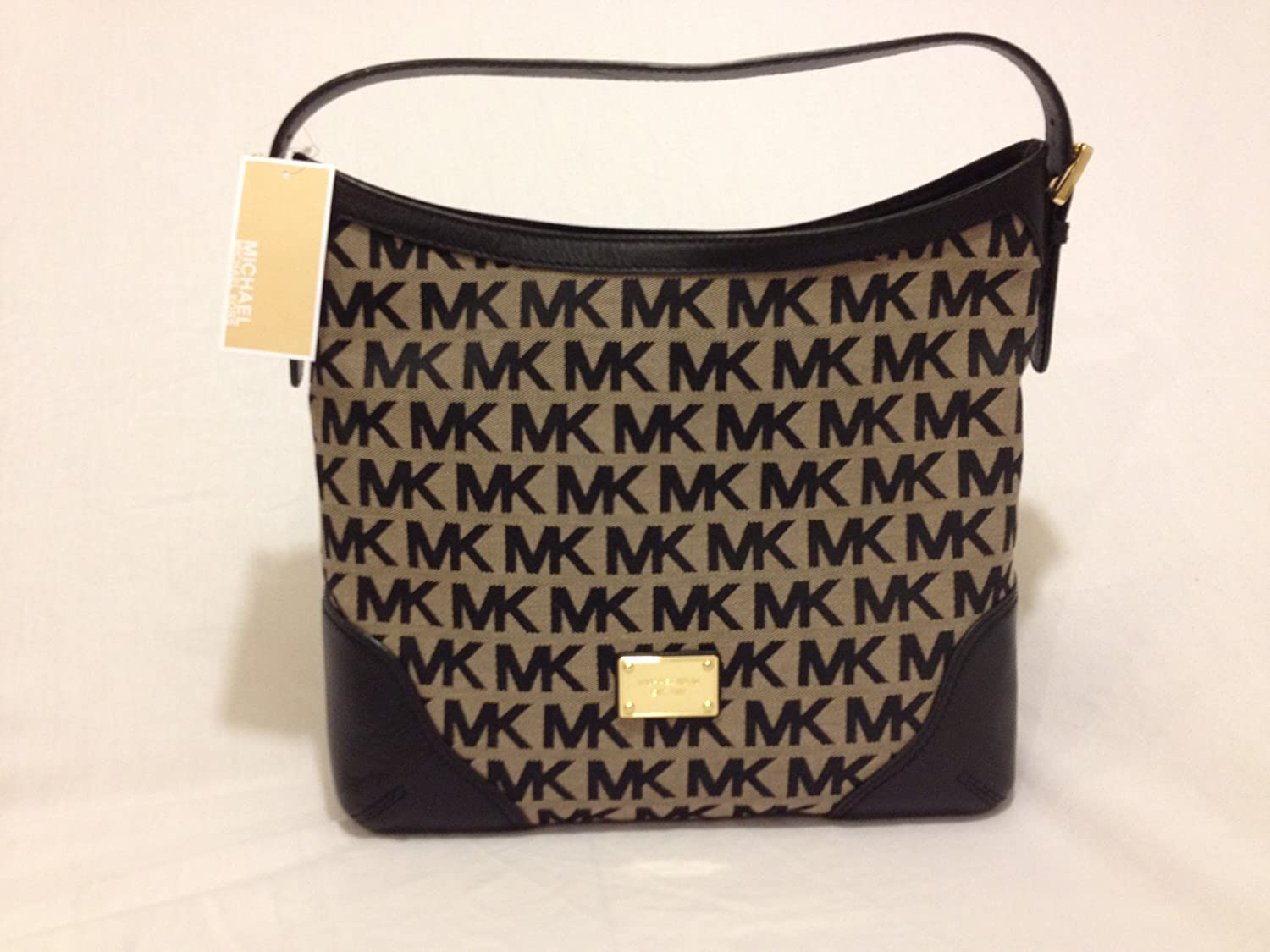 Michael Kors MK Signature Millbrook Large Shoulder Bag Handbag -  Beige black black  Handbags  Amazon.com 2095239b945bf