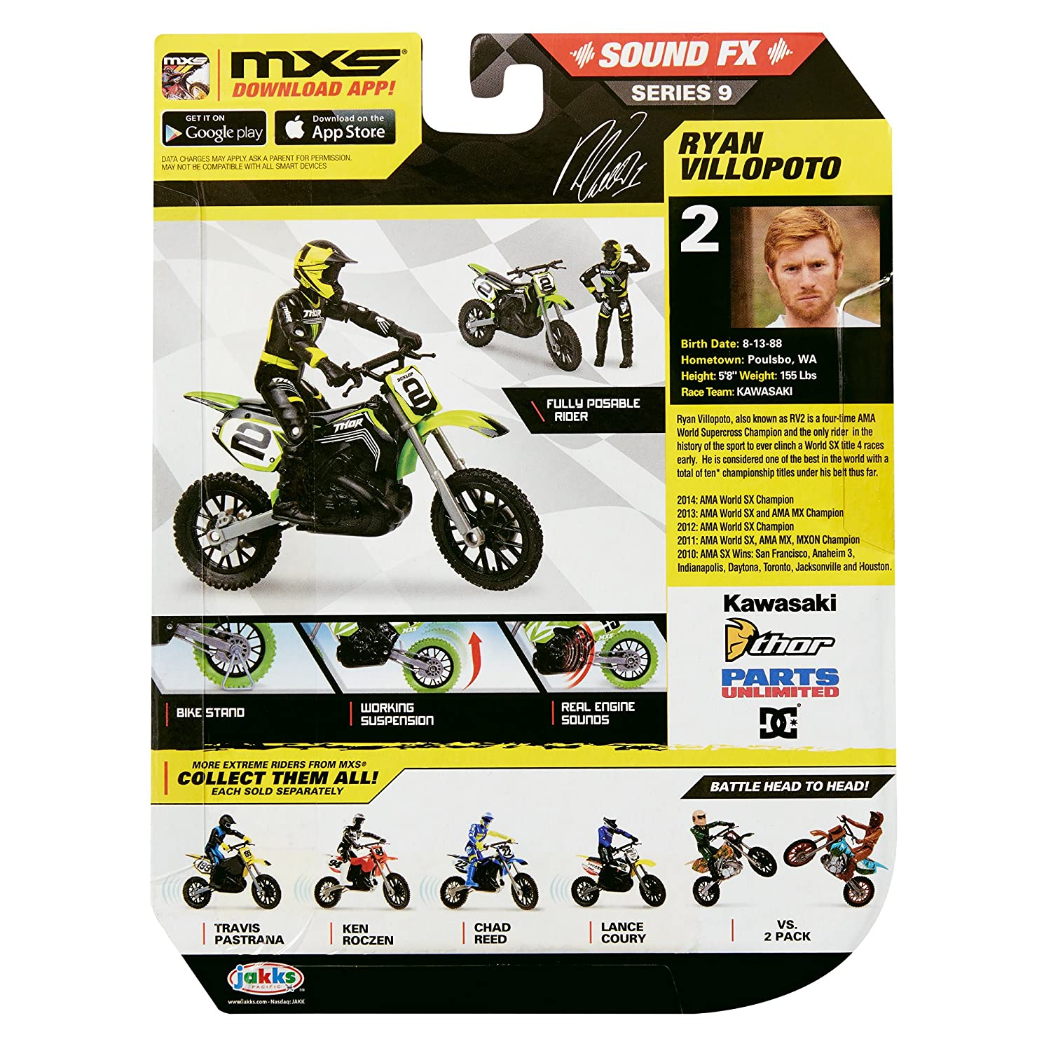 MXS Boys Ryan Villopoto SFX Bike & Rider Set Jakks 97070