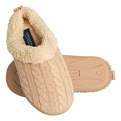 ffb6d39cc452 Seranoma Women s Indoor Fur Lined Cable Knit Faux Fur Slip On Slippers  Clogs Beige