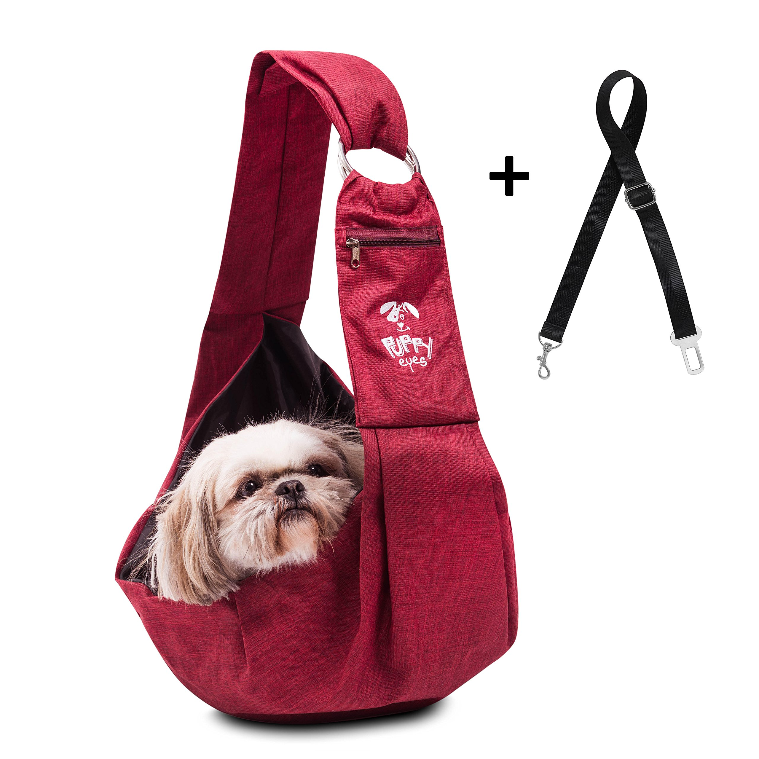Puppy Eyes Waterproof Pet Carrier Sling Comfortable and Adjustable Dog Sling Ideal for Small & Medium Dogs up to 16 lb - Lightweight & Easy-Care Dog Carrier with Bonus car seat Belt and E-Book