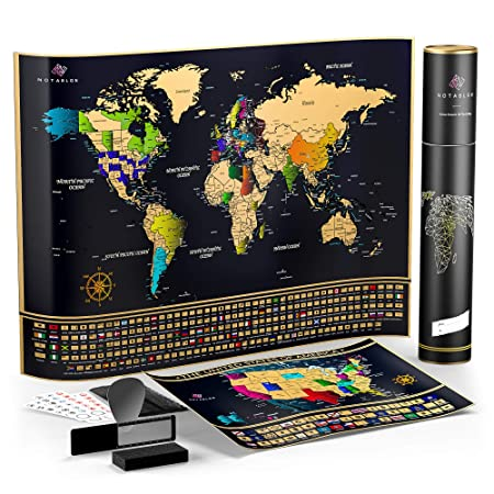 Amazon.com : Unique Scratch Off Map of The World - Large Deluxe Personalized Travel Map Poster with B0NUS Scratch Off USA Map - Outlined US States, ...