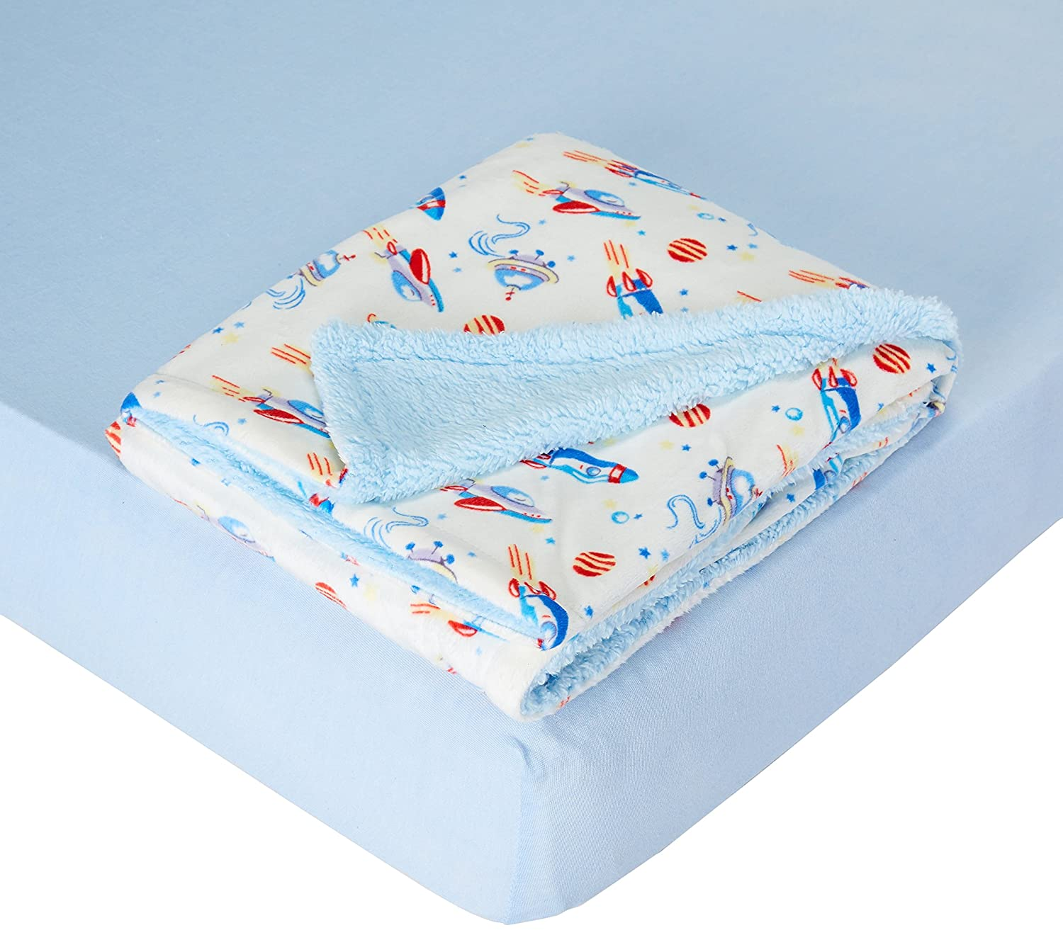 My Baby Toddler Boys Rockets Printed Mink Reversed Coral Fleece Blanket With Cotton Sheet Bedding Set Blue  Rockets Blue/Blue B074SZ3K29