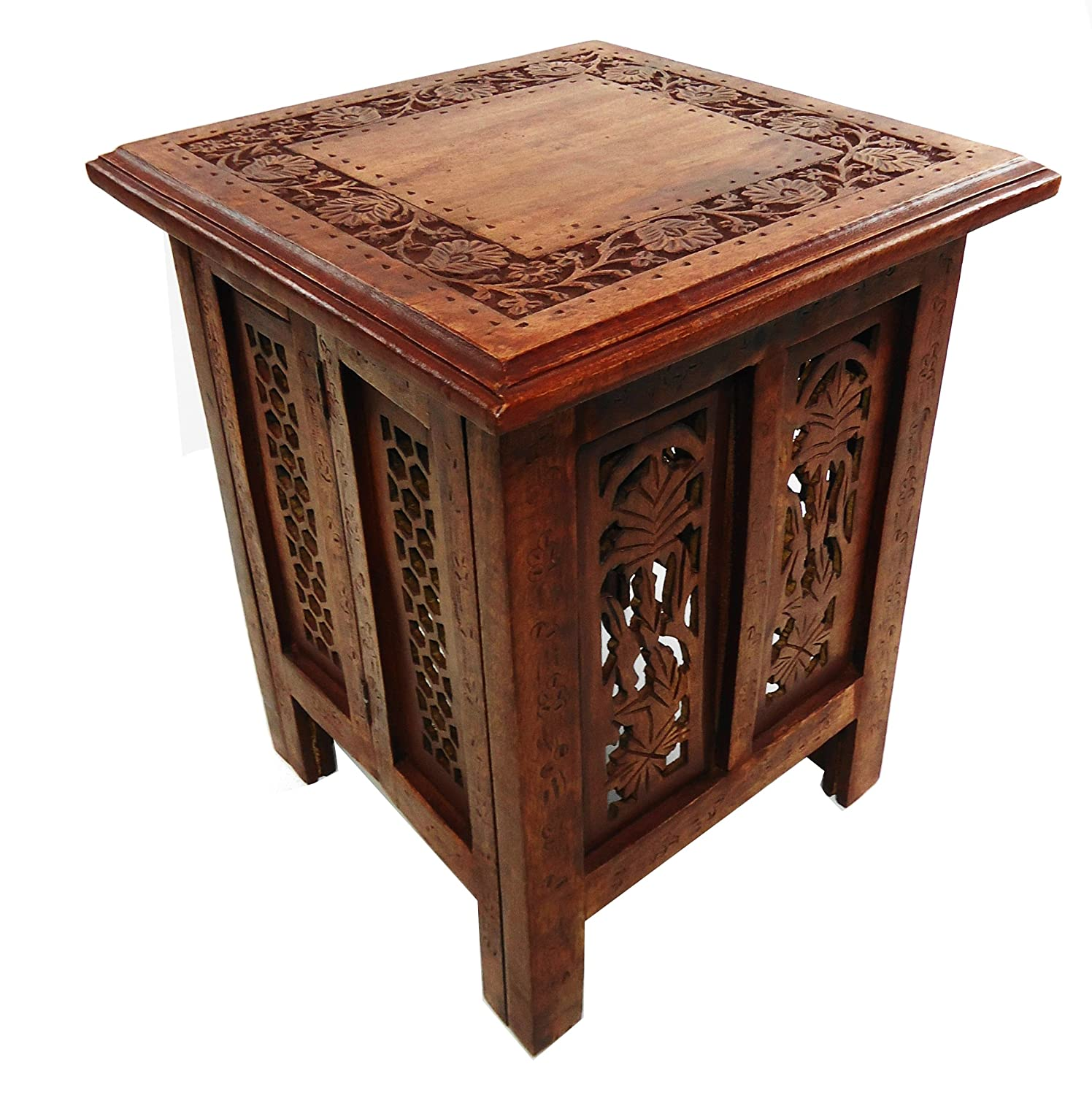 Antique Indian Coffee Tables: Beautiful Antique Effect Hand Carved Indian Wooden Table