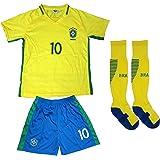 BRAZIL NEYMAR JR #11 Home Football Soccer Kids Jersey Short Socks Set Youth Sizes