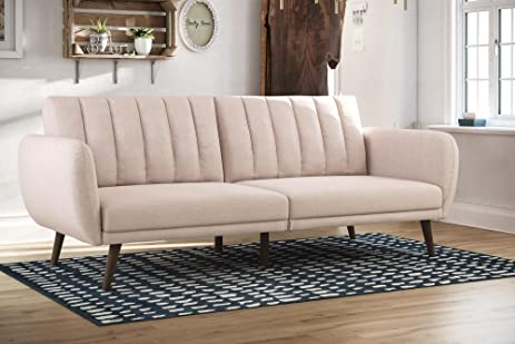Amazoncom Linen Futon Sofa Bed Size Full Stylish Living Room