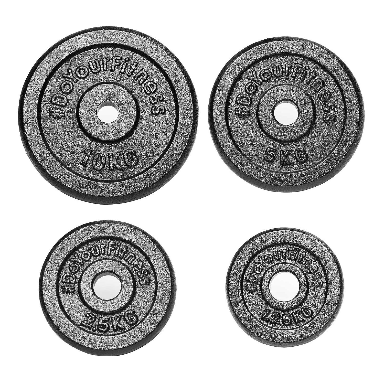 DoYourFitness 37,5kg Hantelscheiben-Set (2x1,25kg   2x2,5kg   2x5kg   2x10kg) aus 100% Gusseisen   30-31mm Bohrung Mattschwarze Gewichte ideal für Langhantel oder Kurzhantel