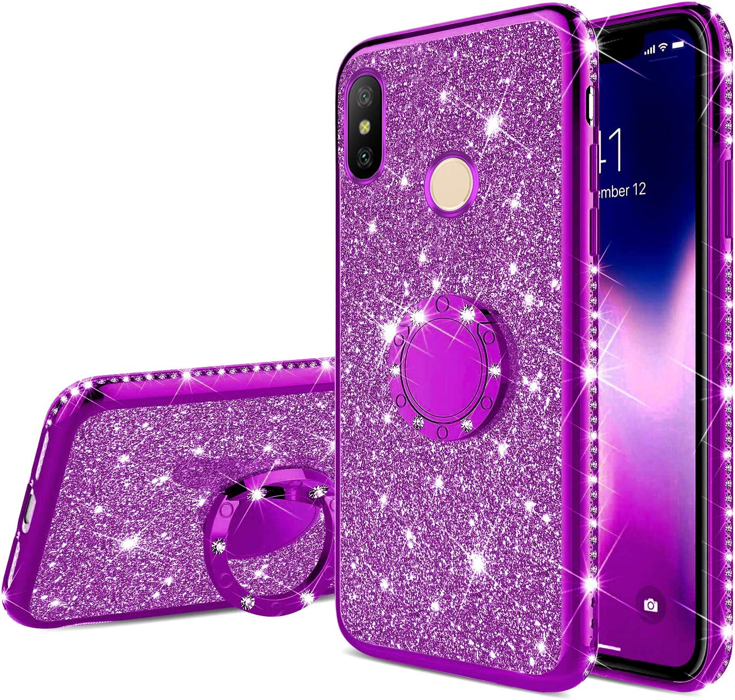 Herbests Compatible with iPhone 6S Plus 5.5 Glitter Case Sparkly Bling Rhinestone Girls Women Cute Ultra-Thin Soft TPU Rubber Silicone Cover with Diamond Kickstand Ring Holder,Red