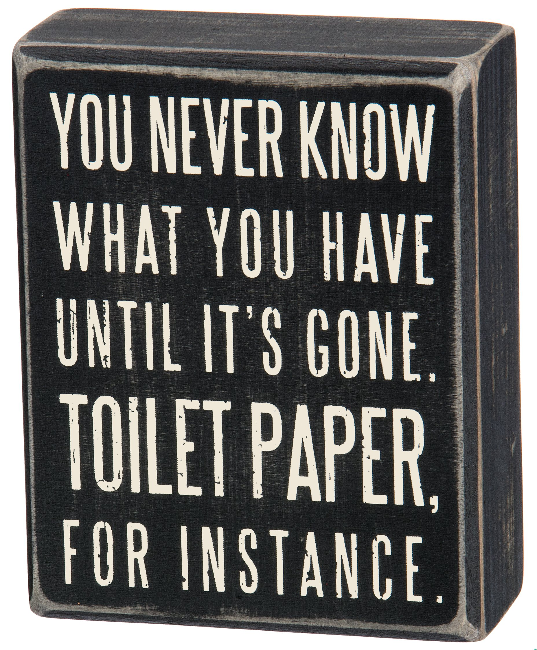 Primitives by Kathy Classic Box Sign 4 x 5-Inches You Never Know What You Have Until It's Gone 1 Primitives by Kathy decorative mini box sign Sign measures 4 x 5-inches; designed to freely stand on its own or hang on a wall Reads: You Never Know What You've Got Until It's Gone. Toilet Paper For Instance.