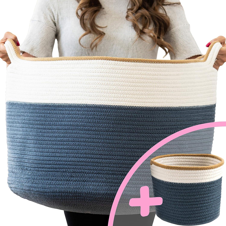"Little Hippo 2pc XXXL Large Cotton Rope Basket (22""x14"") 100% Natural Cotton! Rope Basket, Woven Storage Basket, Large Basket, Blanket Basket Living Room, Toy Basket, Pillow Basket, Round Basket"