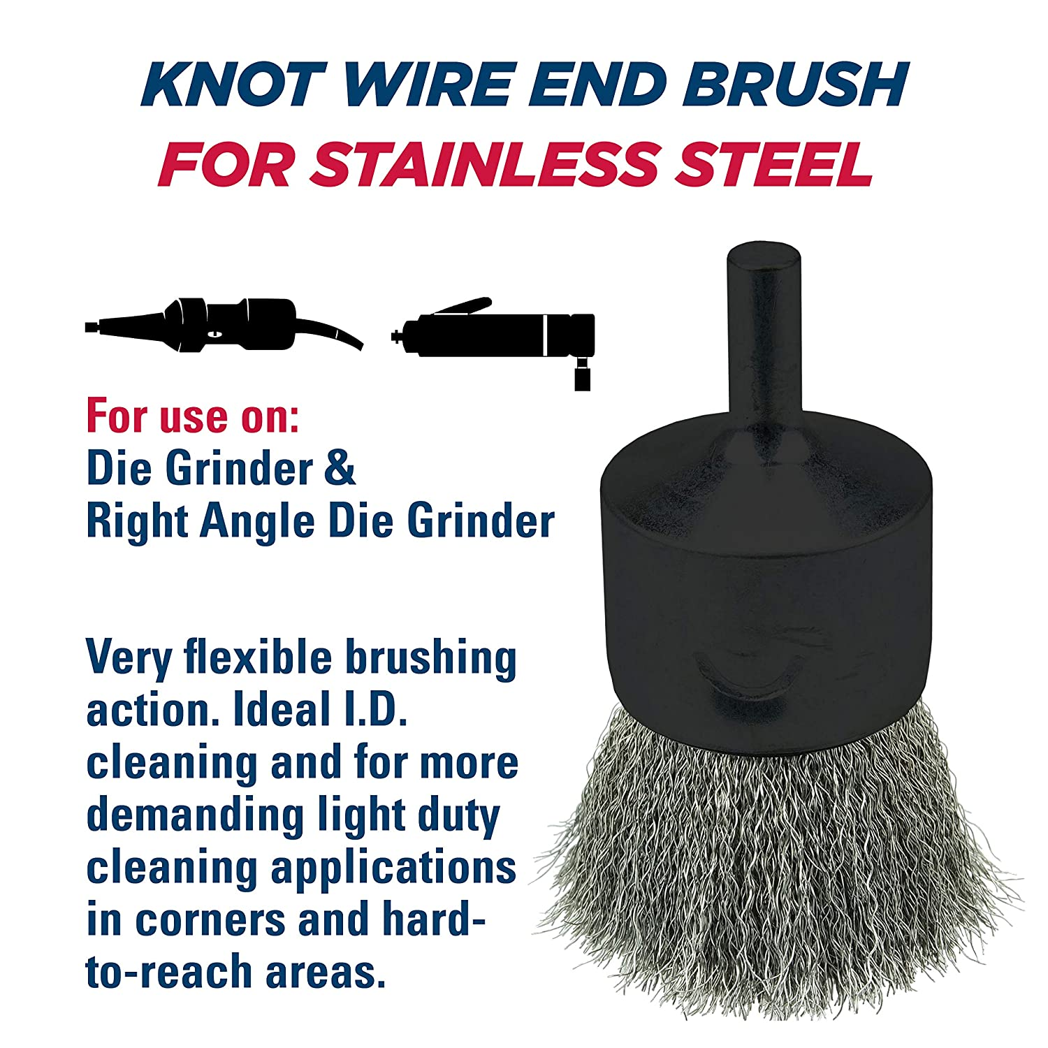 "WEILER 1//2/"" CRIMPED STAINLESS .006 END BRUSH #11010"