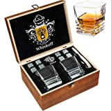 Whiskey Stones Gift Set - Heavy Base Glasses For Scotch Bourbon Drinker- Whisky Rocks Chilling Stones in Wooden Gift Box - Burbon Gift Set for Men - Idea for Birthday