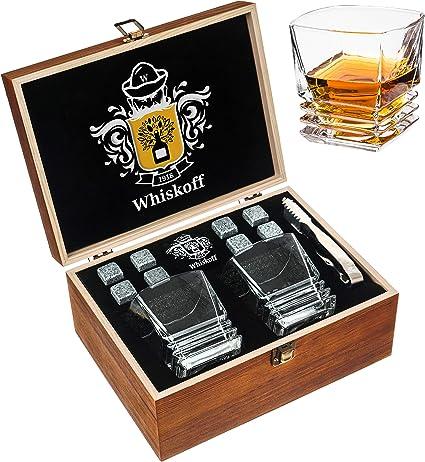 Kit whisky pour degustation whisky. Coffret verre whisky cadeau 2 verres /à whisky en cristal coffret cadeau whisky homme Pierres Grises