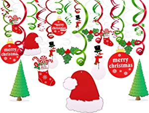Konsait Christmas Hanging Swirl Decoration Kit(30pcs), Merry Christmas Swirls Garland Foil Hanging Ceiling Decoration for Xmas Winter Wonderland Holiday Party Decor Supplies,Already Assembled
