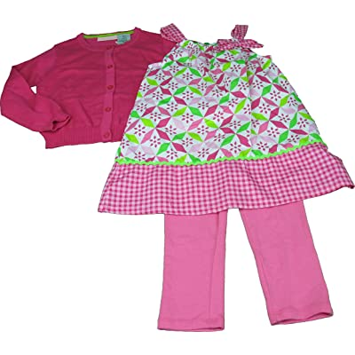 Kids Headquarters Girls 3-Piece Dress, Leggings, Sweater Set Pink Checkered