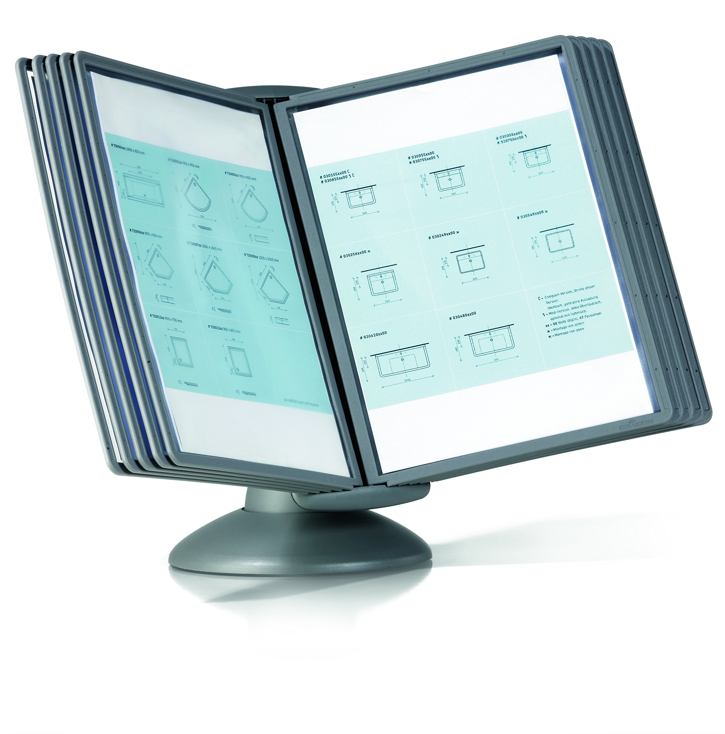 DURABLE Sherpa Motion 10-Panel Desktop Reference System, Gray Borders (553937)