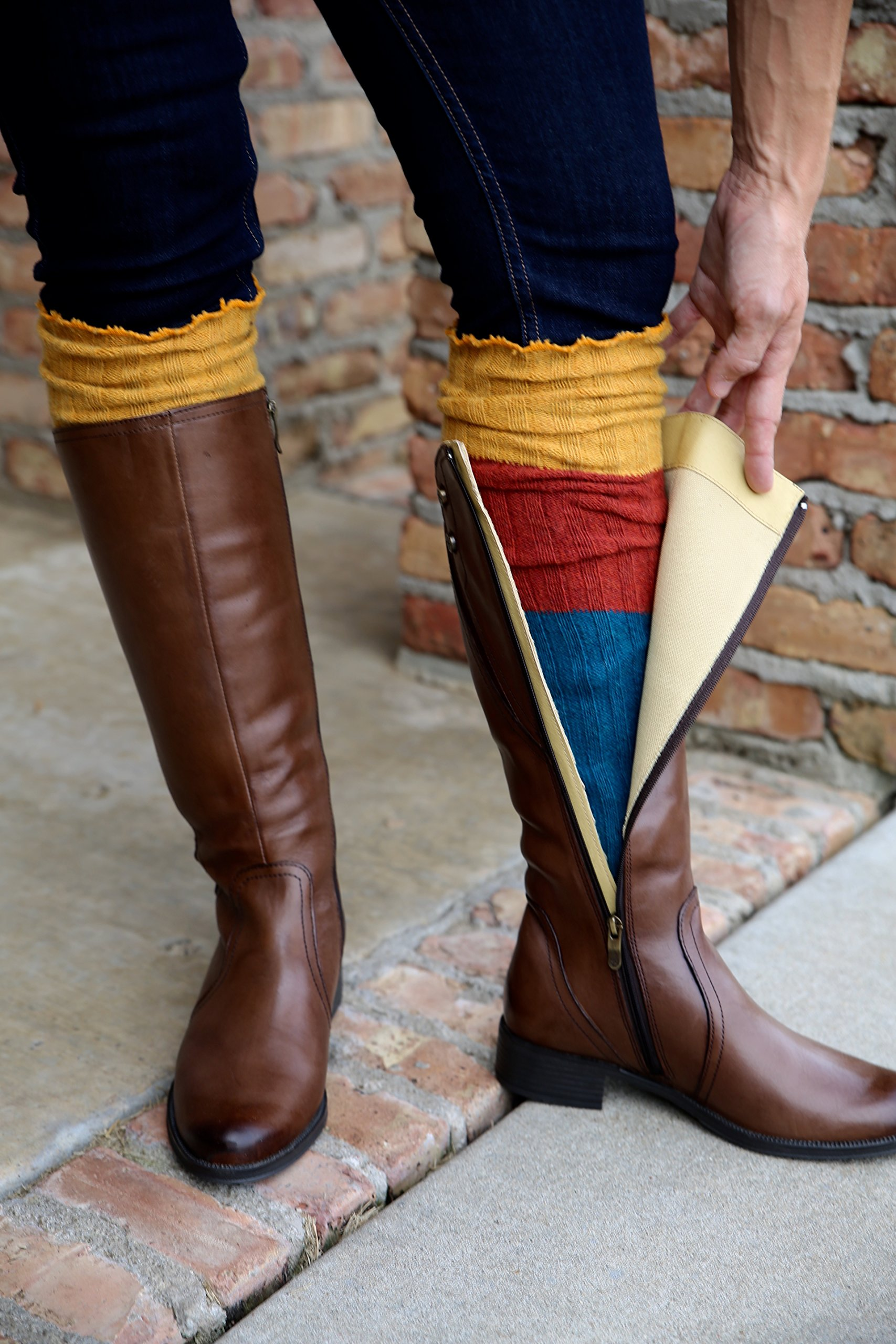 Lucky Love (TM) Striped Multicolor Reversible Knit Leg Warmers by Lucky Love (Image #4)