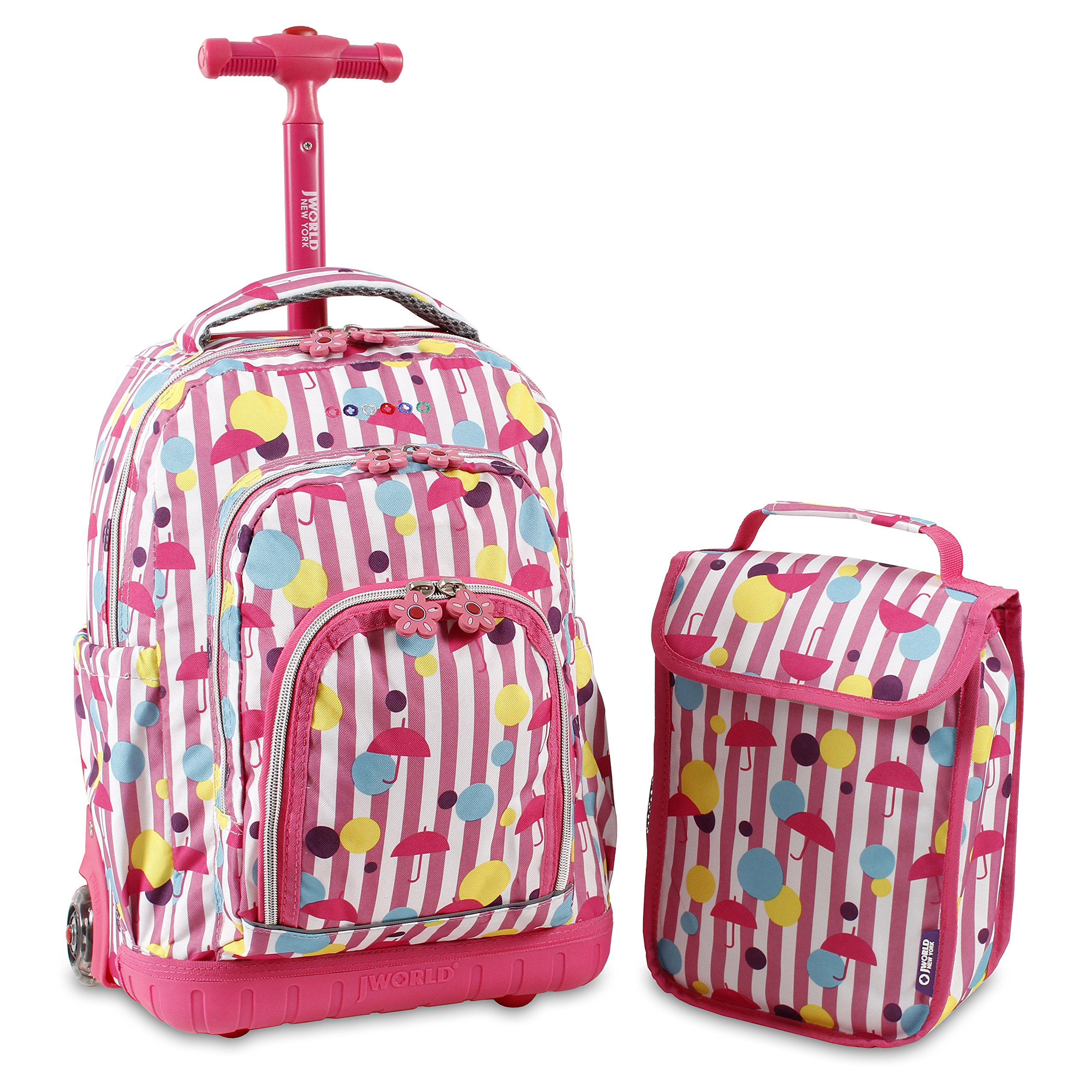 J World New York Lollipop Kids' Rolling Backpack with Lunch Bag, Rain, One Size